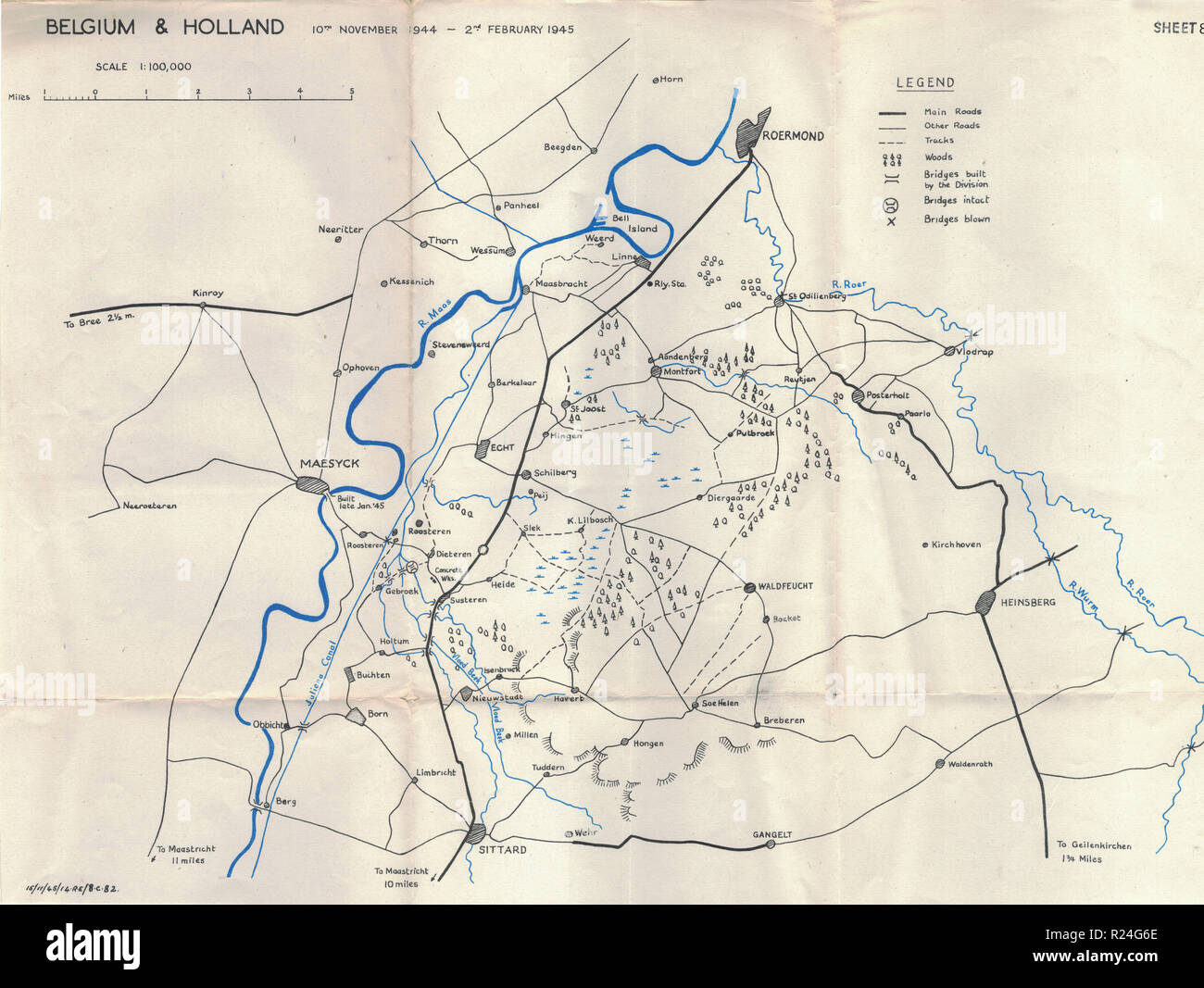World War 2 European Campaign Maps 1945, Belgium and Holland Stock ...