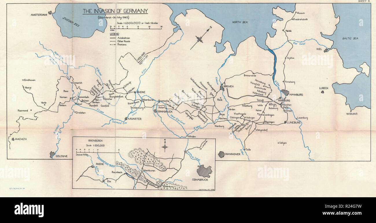 World War 2 European Campaign Maps 1945, Invasion of Germany ...