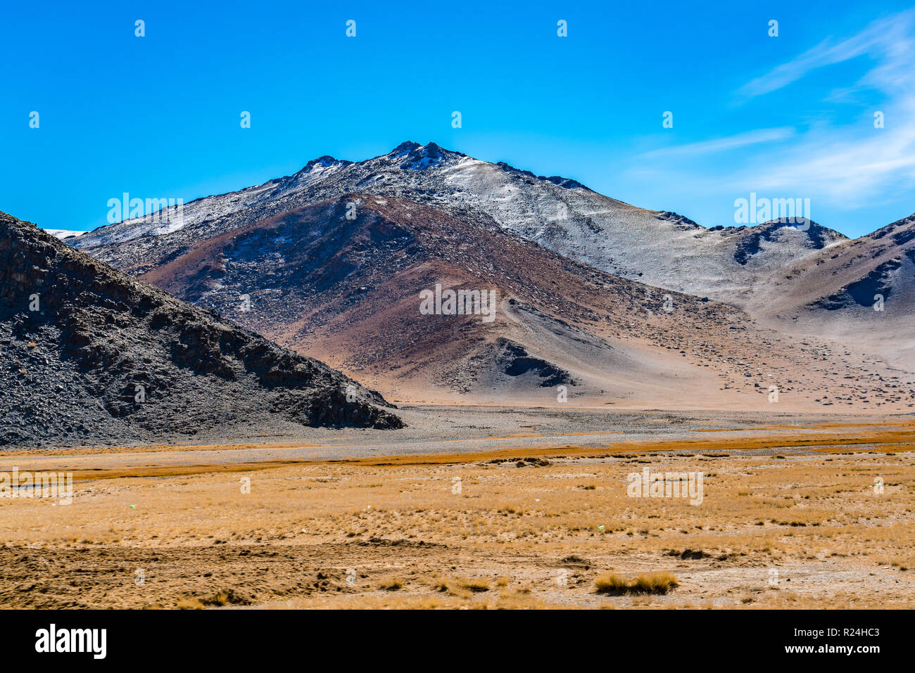 Landscape on the roadside at the highway from Khovd to Uldii in Mongolia in summer Stock Photo
