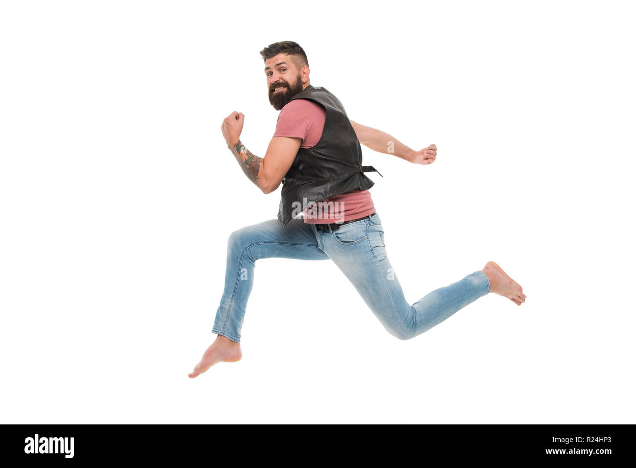 Never stop. Man thief run away. Keep moving concept. Guy bearded hipster captured in running motion isolated on white background. Bearded man running high speed. Escape and runaway. Running motion. - Stock Image