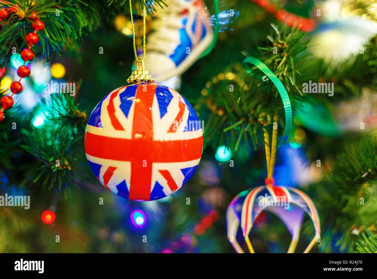 Christmas Tree With Christmas Toys In The Image Of The British Flag Concept New Year Celebration Background Stock Photo Alamy