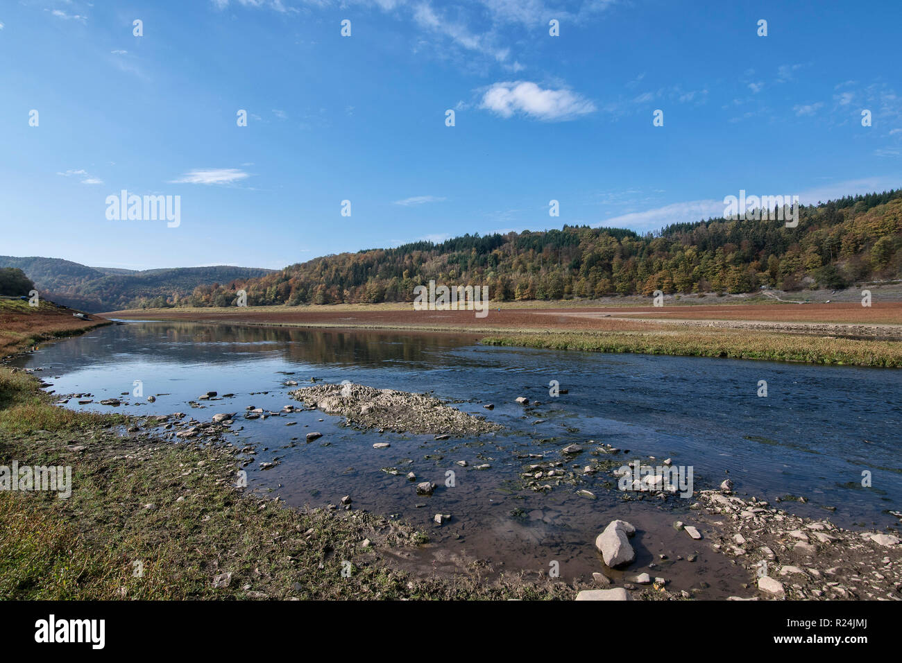 The almost-dry riverbed of the Edersee Lake, Kellerwald-Edersee National Park. - Stock Image