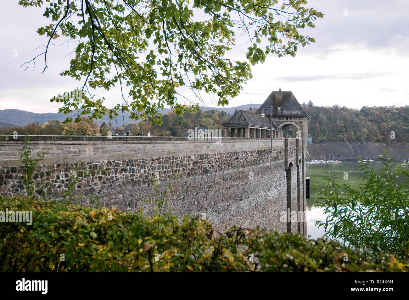 Dam wall at the Edertal Lock, Kellerwald-Edersee National Park. - Stock Image