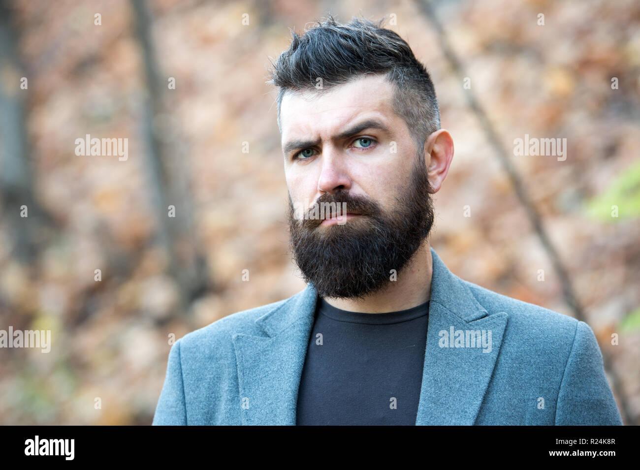 460cf0c6017 Man bearded hipster stylish fashionable coat. Stylish beard and mustache  fall and
