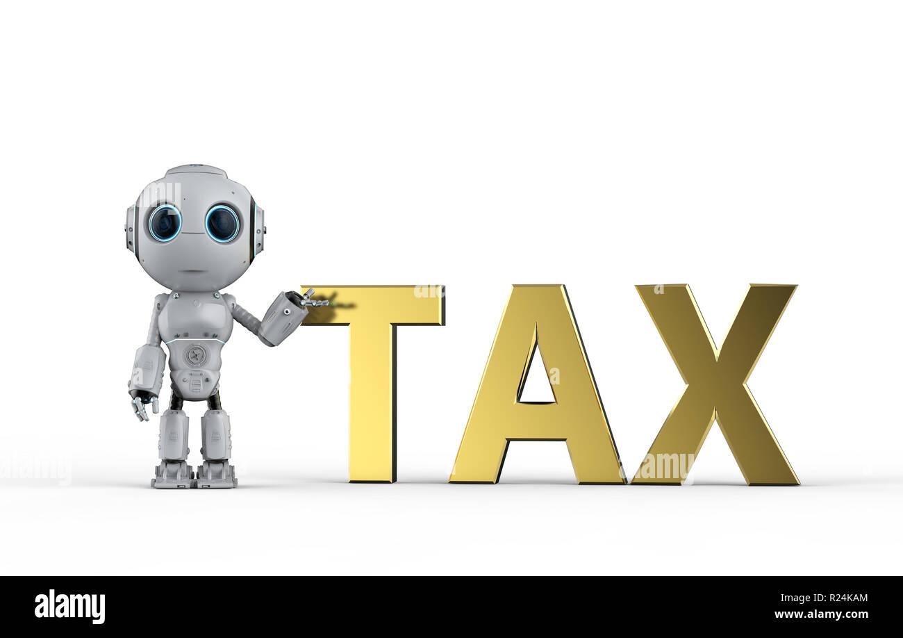 3d Rendering Mini Robot Calculate Tax Stock Photo 225067100 Alamy