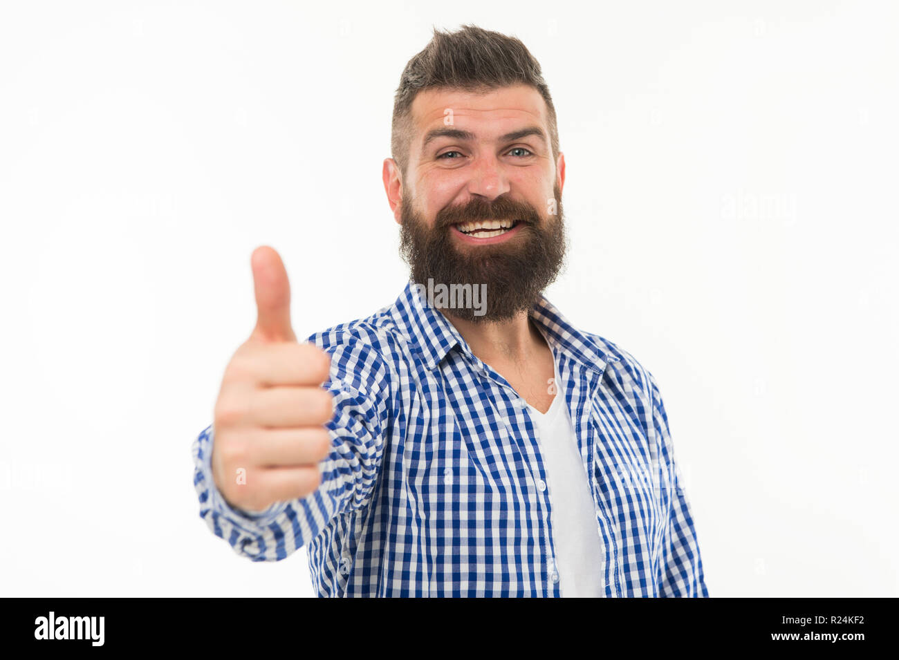 Great choice. Man bearded hipster recommend or approve something isolated white background. Appreciate your choice. Thumb up gesture symbol of approvement. Approve or endorse with hand gesture. - Stock Image