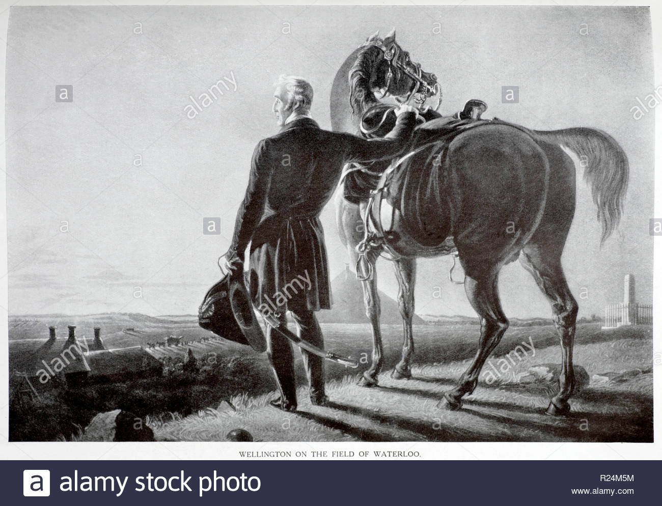 Arthur Wellesley, 1st Duke of Wellington on a visit to the field of Waterloo in 1830, illustration from 1922 - Stock Image