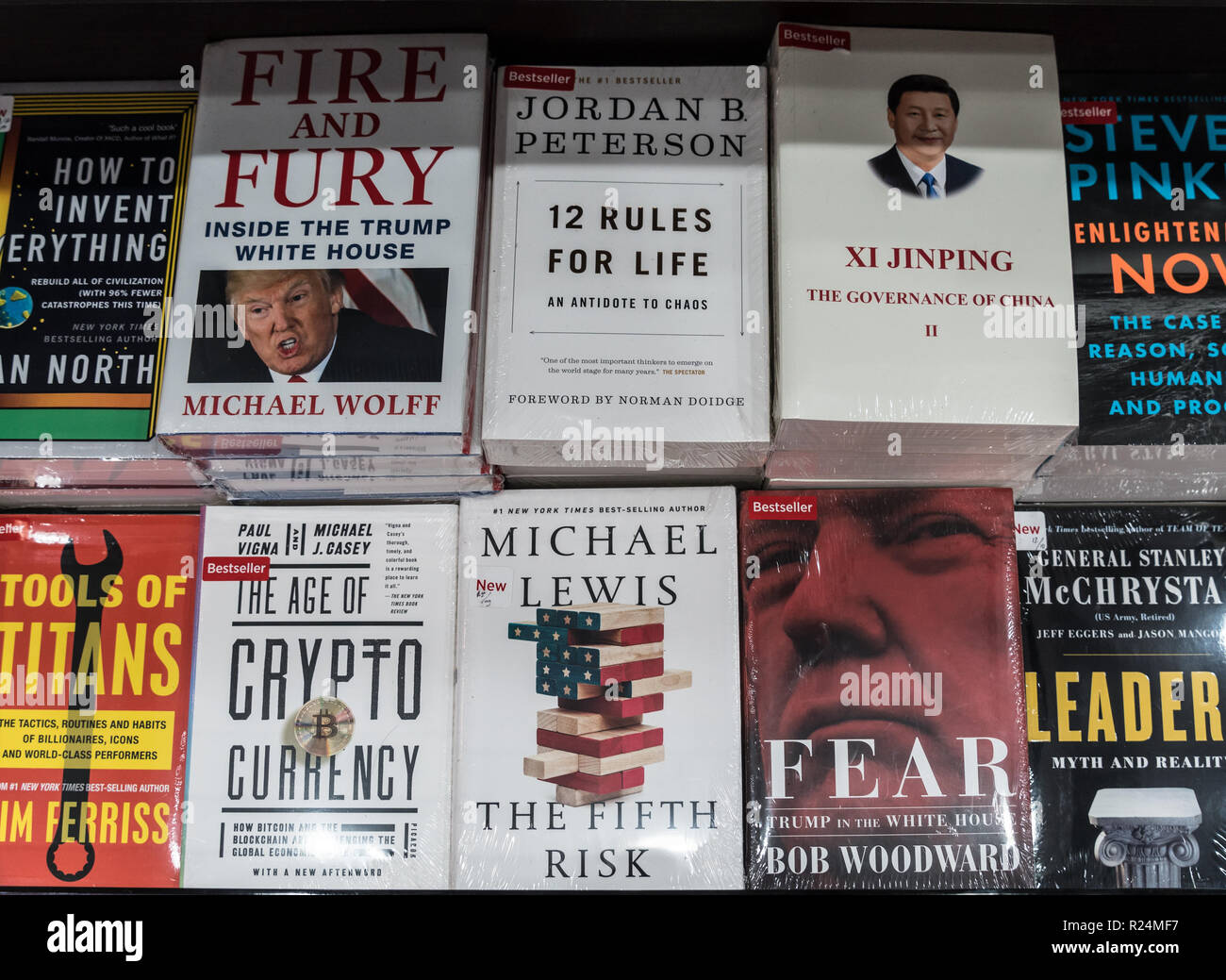 Jakarta, Indonesia - November 13 2018: Books about Donald Trump and Xi Jinping are displayed in a modern bookstore. - Stock Image