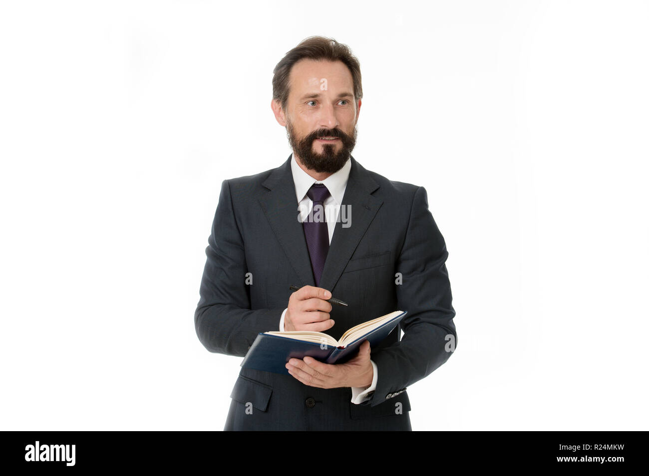 Businessman planning business schedule with notepad. Time management and organizing skill. Man bearded manager face create plan. Successful businessman planning isolated white. Office manager wanted. - Stock Image
