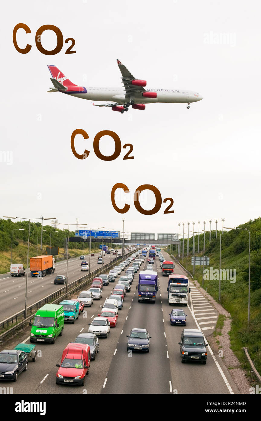 The carbon footprint of travel. Traffic congestion on the M1 motorway at Loughborough due to sheer volume of traffic, with a plane coming into land at - Stock Image