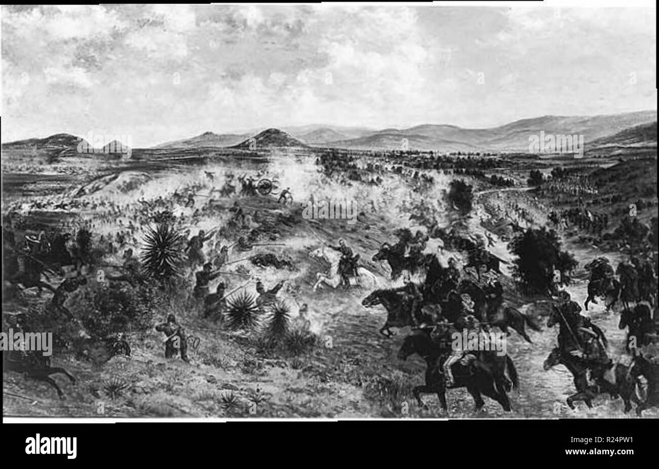 Mexican Imperialists engage Republican forces during the Battle of Miahuatlán in 1866. The battle occurred months after the French announced its withdrawal. - Stock Image