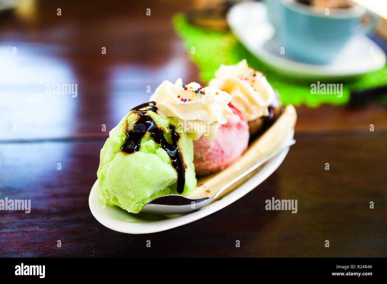 Fresh yummy nature ice creamy on beautiful blurred background - Stock Image