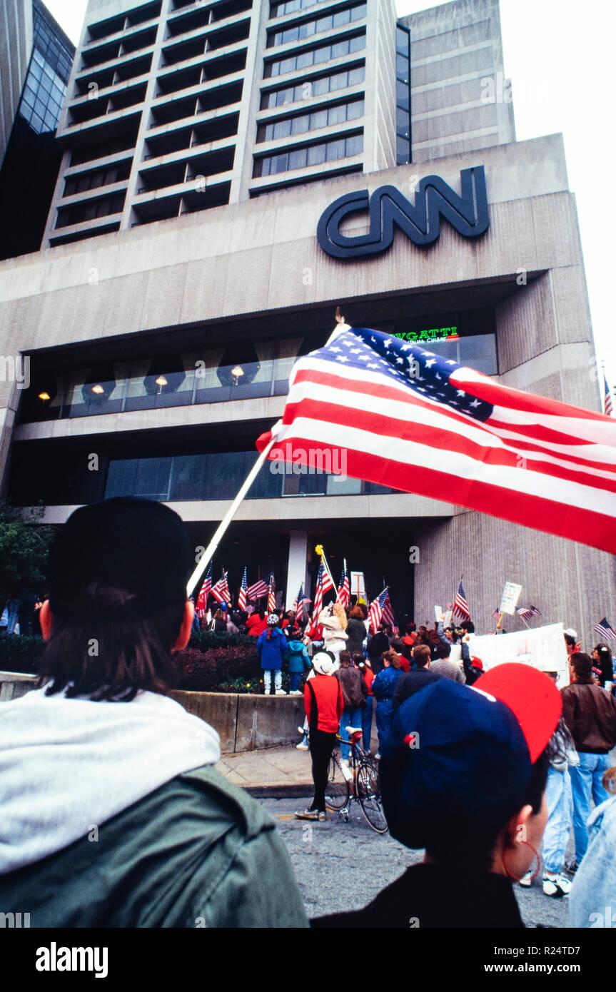 Demonstration outside CNN Center in Atlanta, Georgia as Operation Desert Storm begins on January 17, 1991 - Stock Image