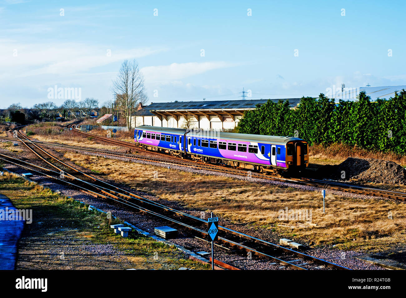 Northern Rail Train from Darlington at Eaglescliffe, North England - Stock Image