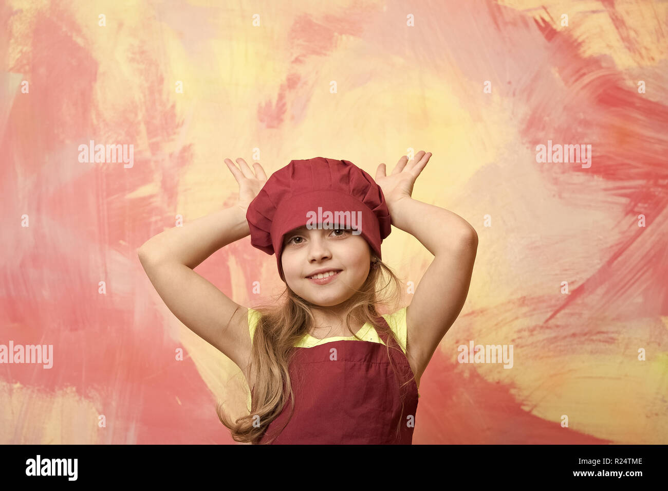 Cook Child Chef Kid Or Happy Little Girl Cook In Red Chef Hat And