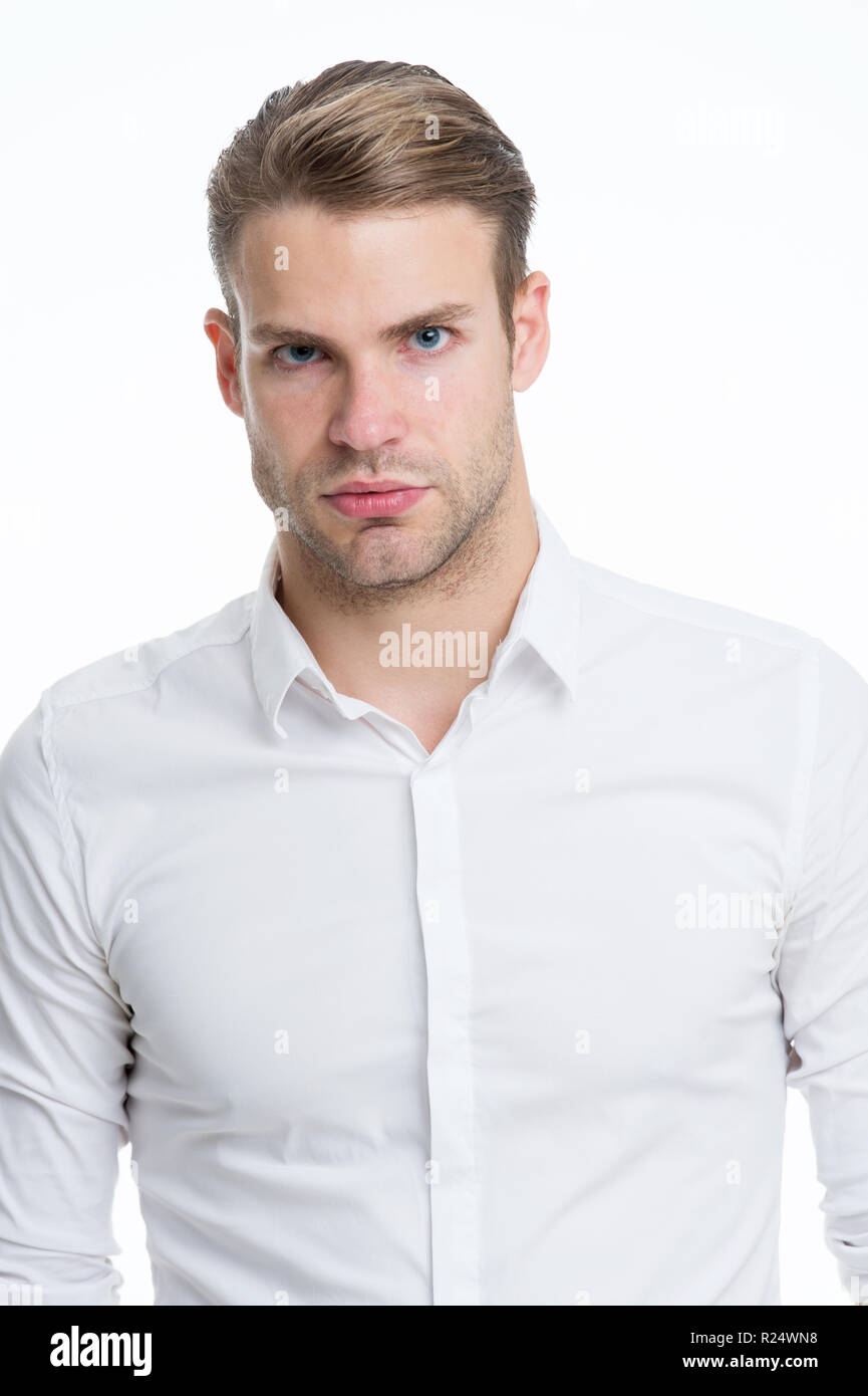 0b0157aa52605d White collar worker. Man well groomed unbuttoned white collar elegant shirt  isolated white background.