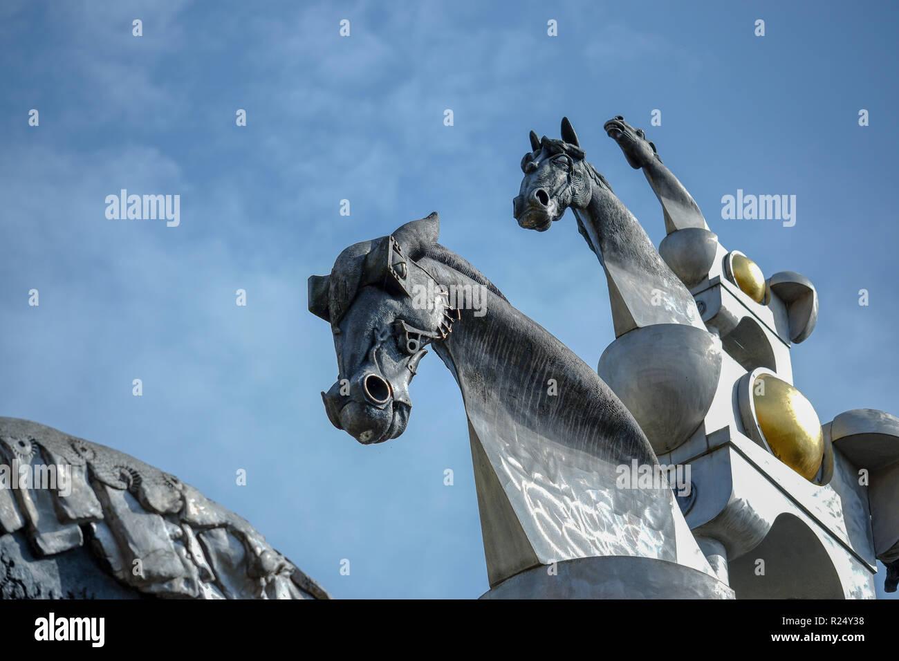 'Turm der grauen Pferde', artwork by Jürgen Goertz in Bietigheim-Bissingen - Stock Image