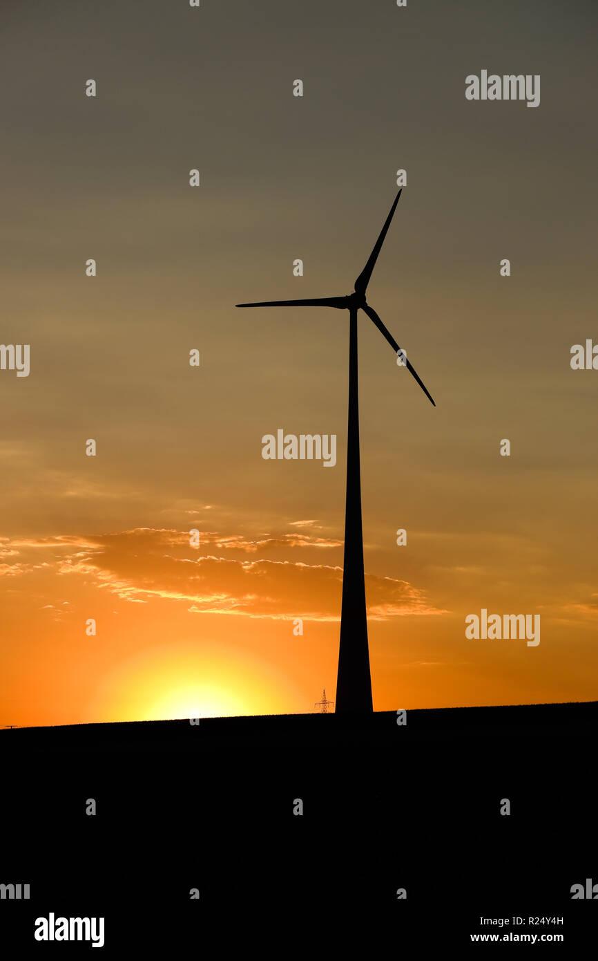 Wind Turbine of Ingersheim at Sunset Stock Photo