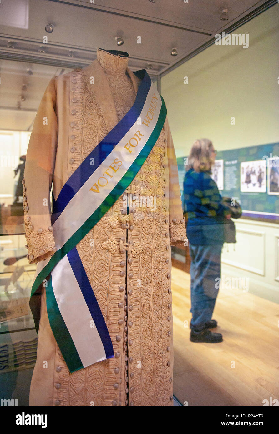 Leicester, UK. 16 November 2018. Alice Hawkins and Votes For Women exhibition at New Walk Museum & Art Gallery, Leicerster, UK. - Stock Image