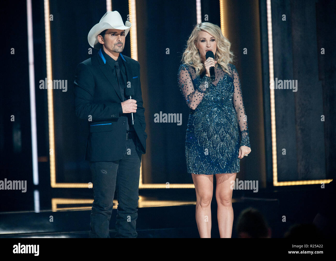 Nov. 14, 2018 - Nashville, Tennessee; USA -   BRAD PAISLEY and CARRIE UNDERWOOD host the 52nd Annual CMA Awards that took place at the Bridgestone Arena located in downtown Nashville.  Copyright 2018 Jason Moore. (Credit Image: © Jason Moore/ZUMA Wire) - Stock Image