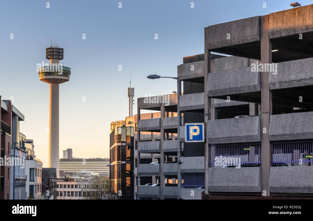 Liverpool, England, UK - November 5, 2014: The landmark Radio City transmitter tower and large multistory car park in central Liverpool. - Stock Image