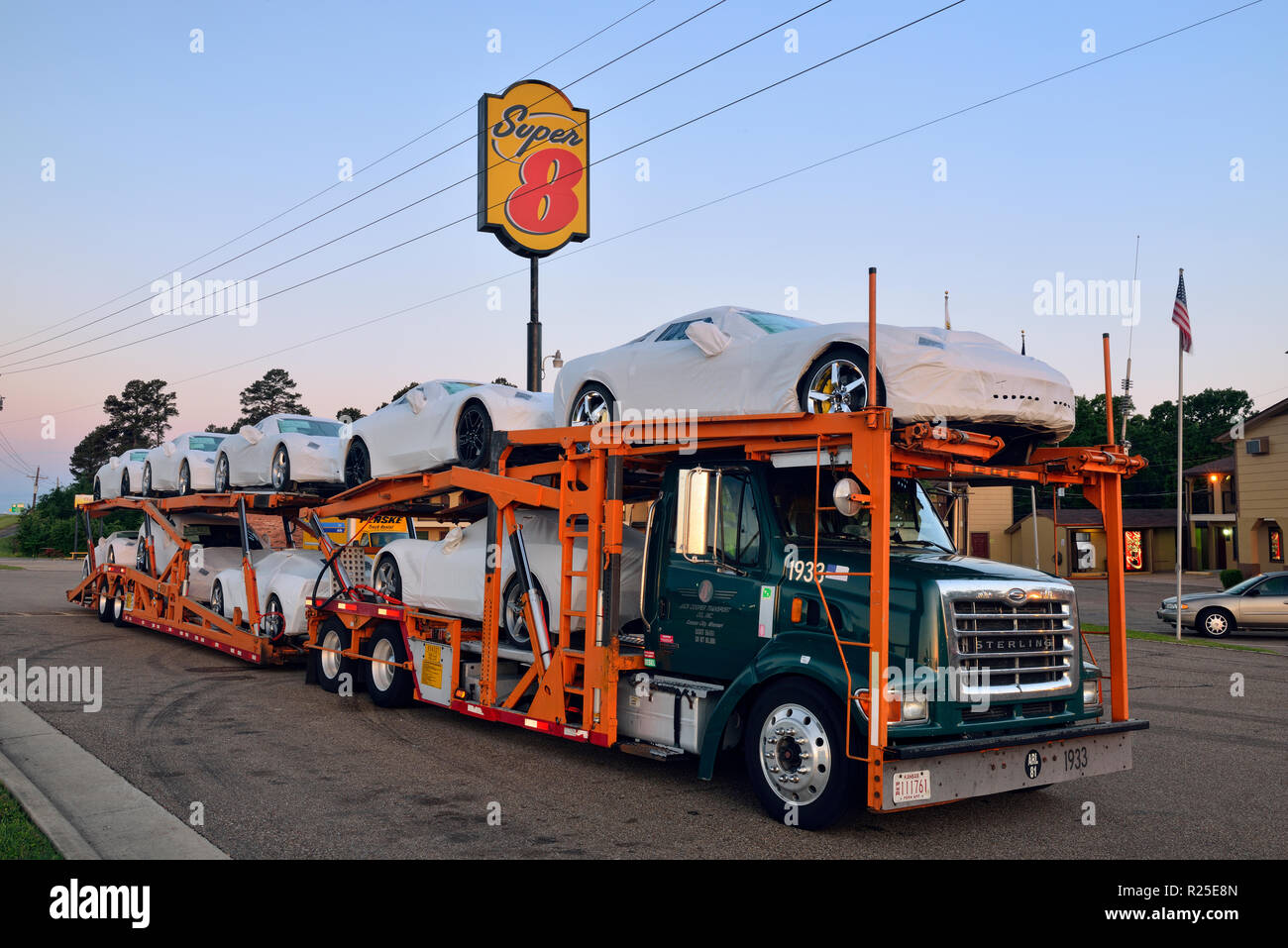 A transport truck with Corvette Stingrays destined for dealers and clients in Texas, Mount Pleasant, Texas, USA - Stock Image