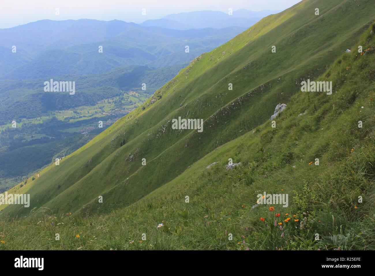 Steep alpine slopes of Mount Kobariski Stol, Julian Alps,  Alpe Adria trail, Slovenia, central Europe - Stock Image