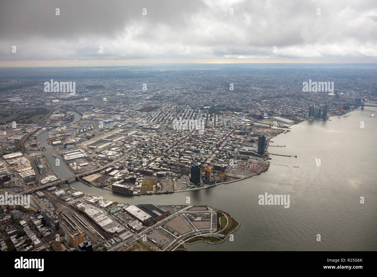 helicopter aerial view of Greenpoint, Brooklyn, New York, USA - Stock Image