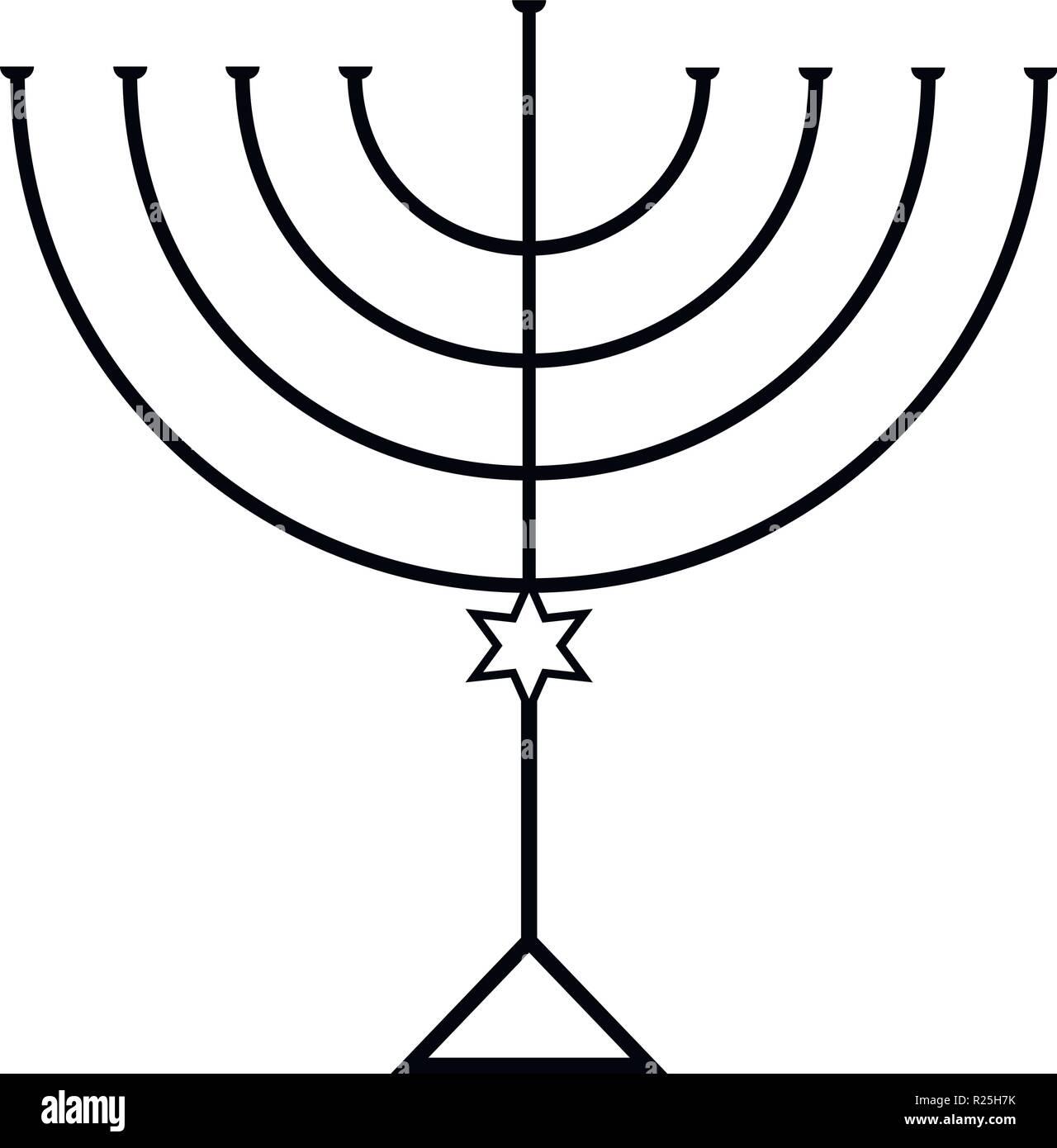 Menorah for Hanukkah, Vector illustration. Religion icon. - Stock Vector