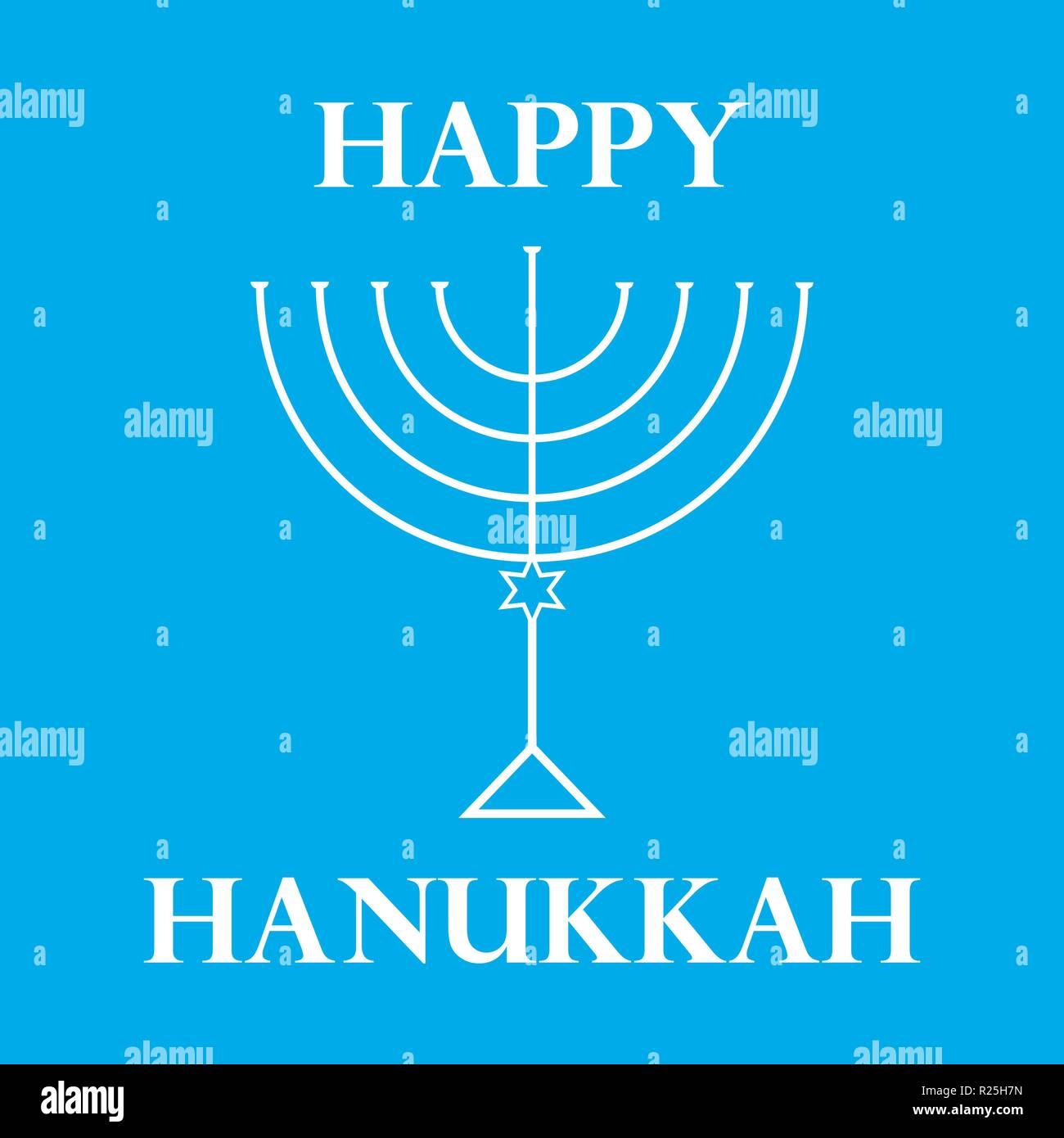 Hanukkah Menorah on Light Blue Background a Stock Vector