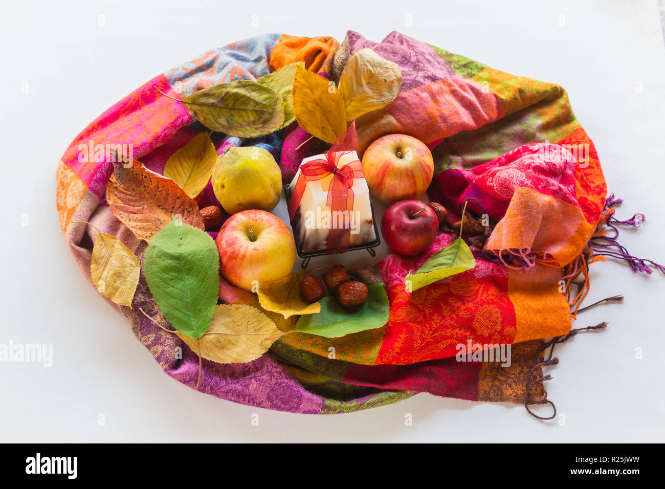 Autumn vibe colors with fruits - Stock Image