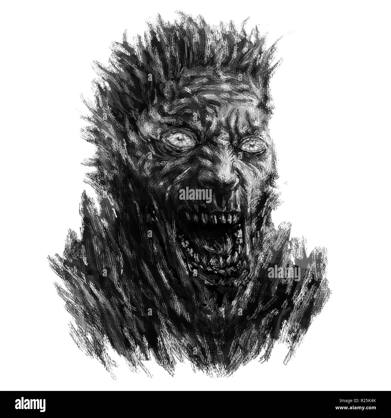 Angry zombie face concept. Illustration in genre of horror. Black and white color. - Stock Image