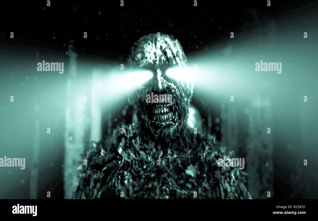 Dark zombie with green rays from the eyes in dungeon. Horror character concept. Blue background color. - Stock Image