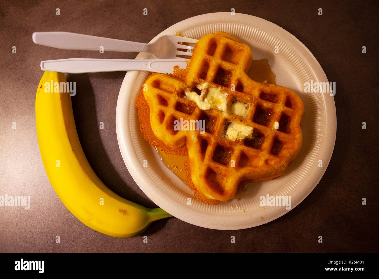 Waffle in the shape of Texas, photographed in Amarillo, TX. - Stock Image