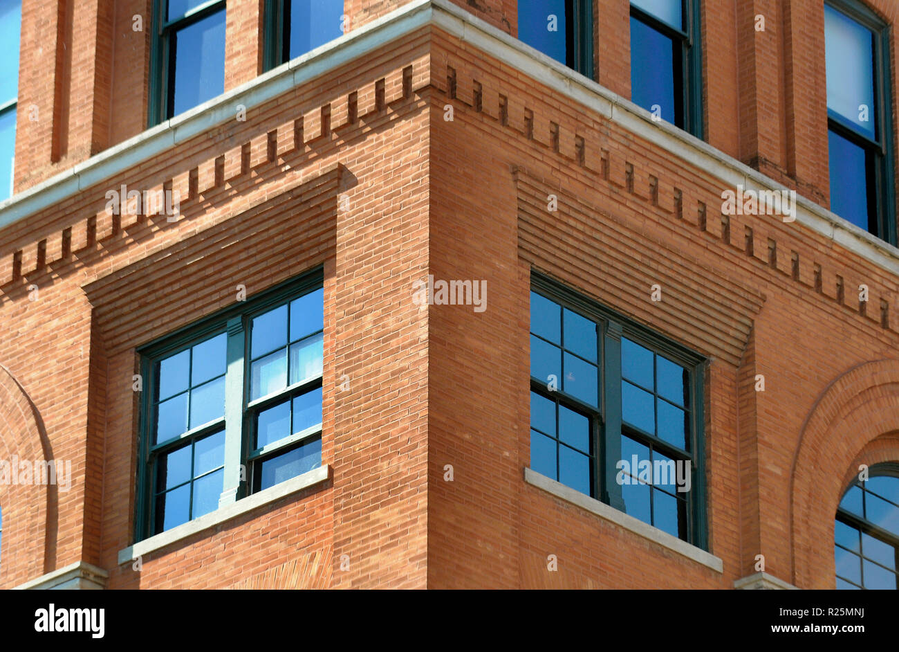 The exterior of the Texas Book Depository in Dealey Plaza in Dallas Texas where Lee Harvey Oswald assassinated John F. Kennedy on November 11,1963. - Stock Image