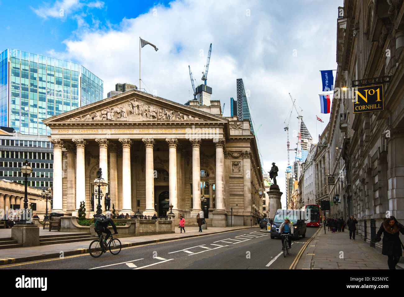 LONDON. ENGLAND - March 20 2018: Wide view of the Royal Exchange building and surrounding area on a sunny day in spring. - Stock Image