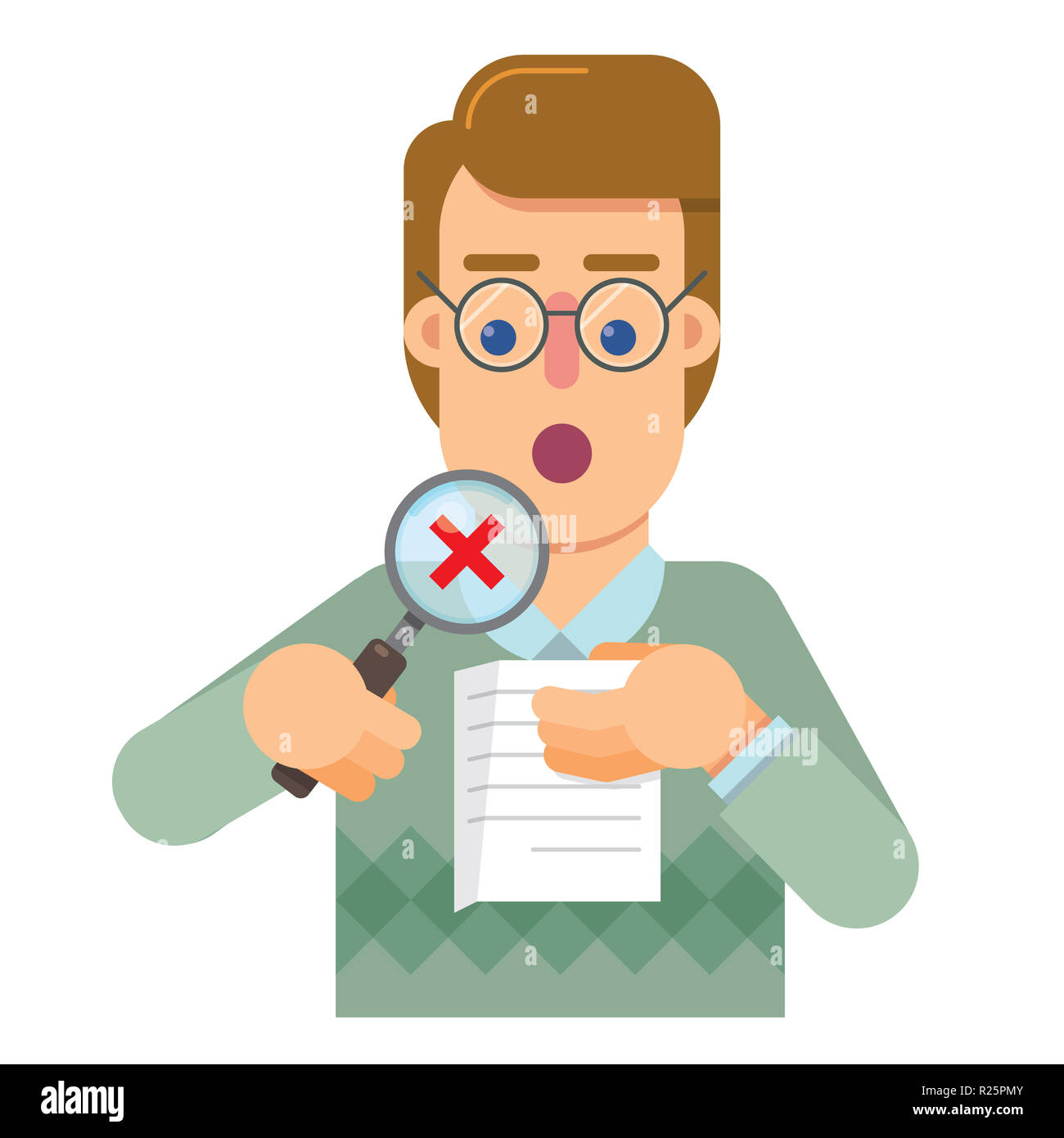 Person delegate to the audit that analyzes and research the correctness of the work - Stock Image