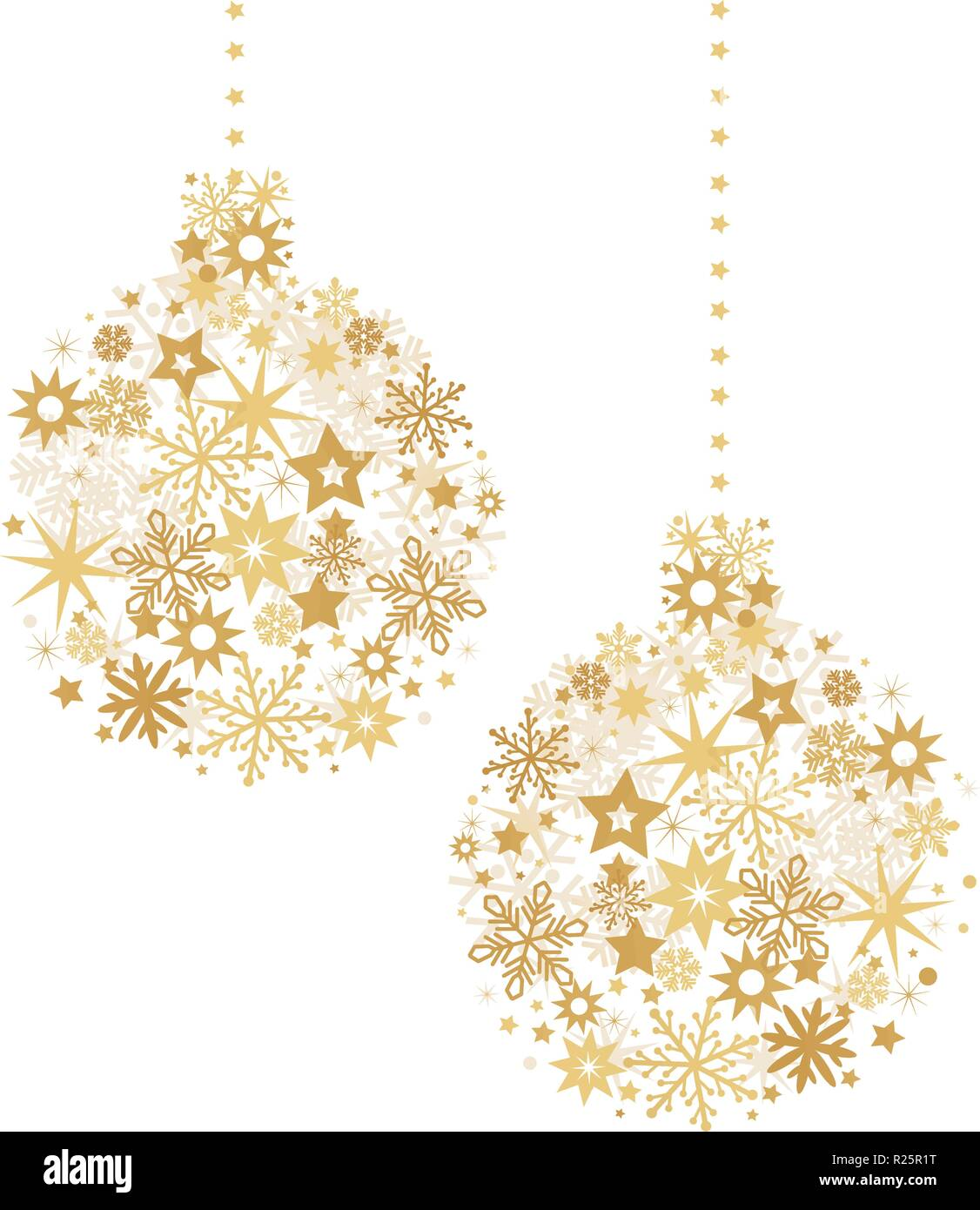 Christmas ball with golden stars illustration with sparkling Christmas glitter ornaments isolated on white - Stock Vector