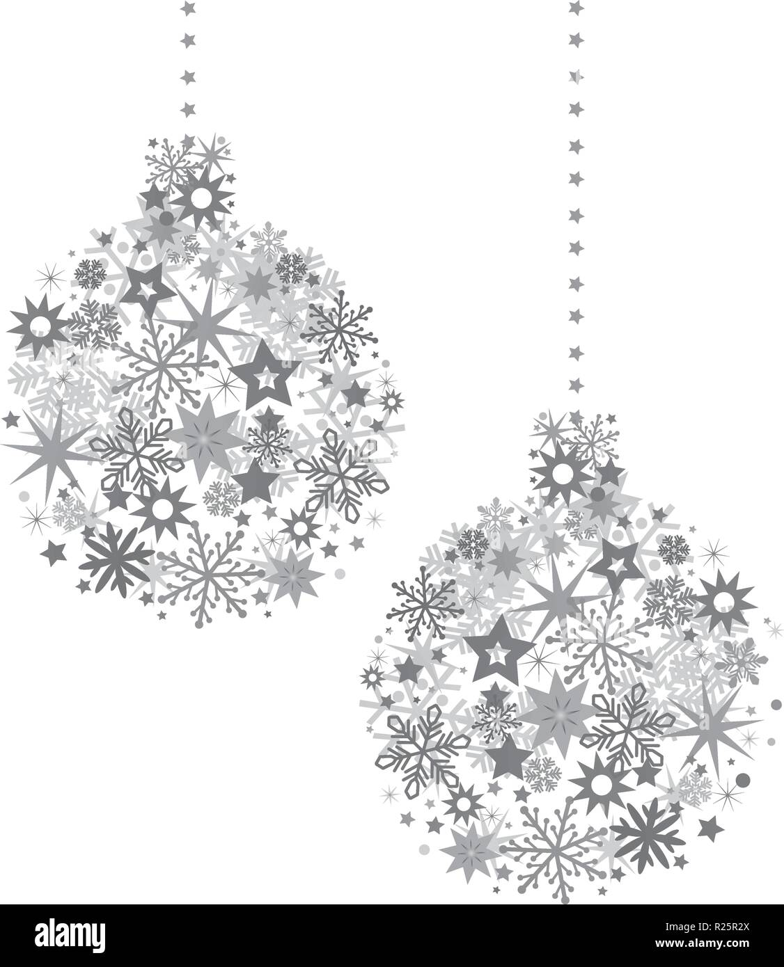 Christmas ball with silver stars illustration with sparkling Christmas glitter ornaments isolated on white - Stock Vector