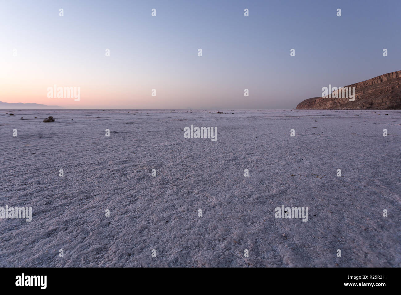 Sunrise over Urmia saltwater lake in North-West region of Iran. - Stock Image