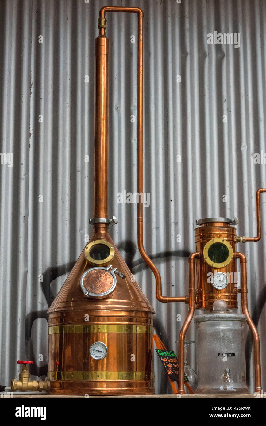 breweries and brewing equipment, tanks and stills with vats at a micro brewery making beers and craft ales. - Stock Image