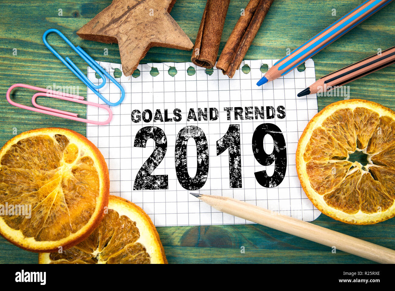 Goals and trends 2019. Christmas and holiday background - Stock Image