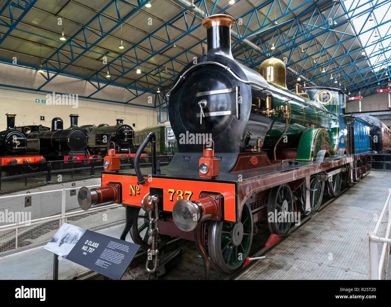 South Eastern and Chatham Railway D Class Steam Locomotive No 737 in the Great Hall, National Railway Museum, York, England. - Stock Image