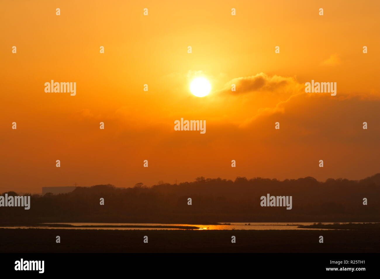 Sunset from RSPB St Aidan's in Leeds,West Yorkshire. - Stock Image