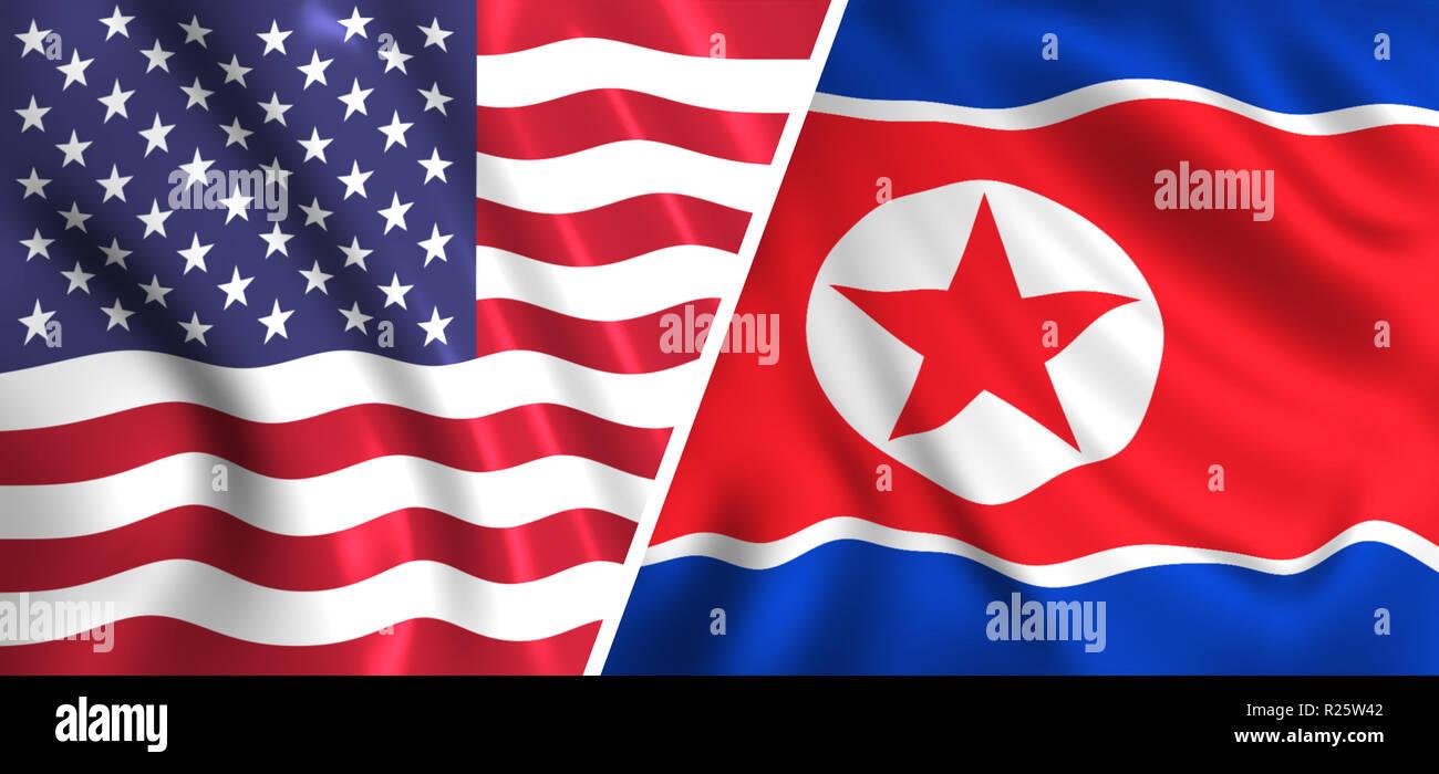 usa flag vs north korea flag - Stock Image