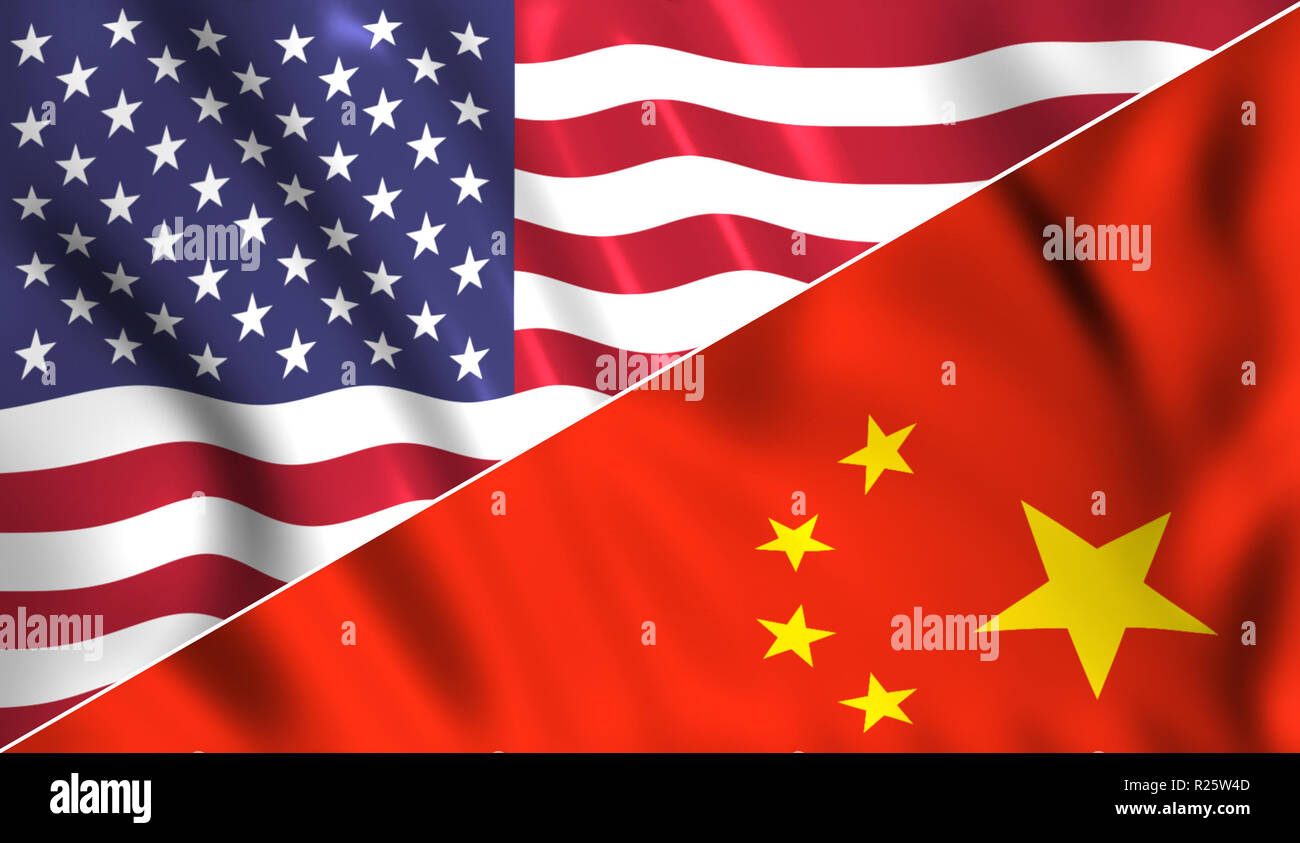 Usa flag vs China flag tradewar Stock Photo
