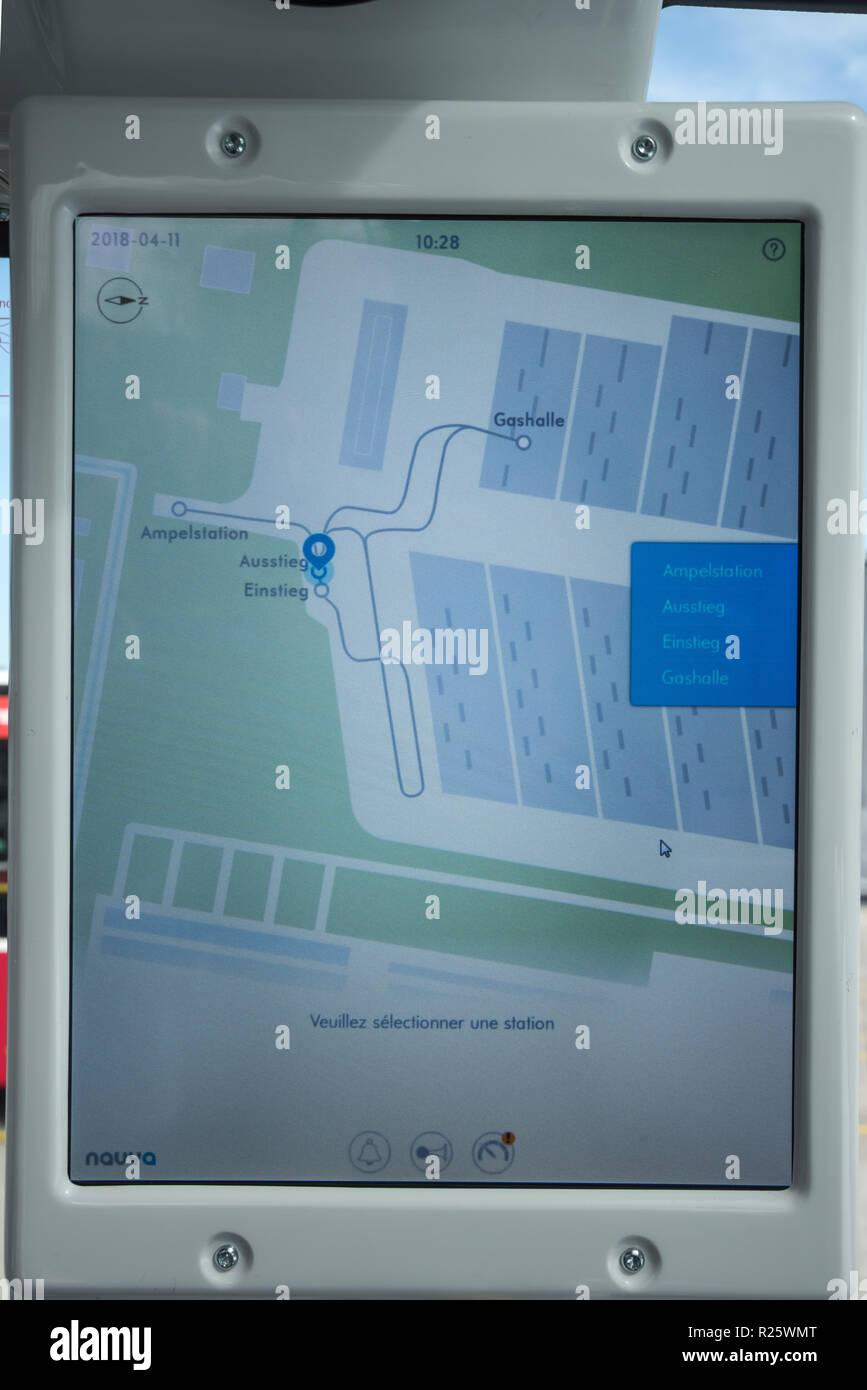Wien, Busgarage Leopoldau der Wiener Linien, Elektronischer Fahrplan - Stock Image