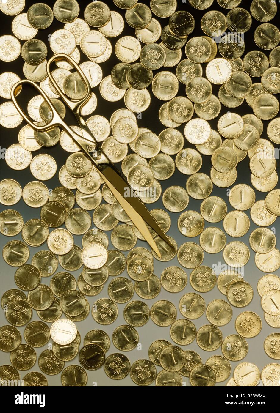 Schillinge, Austrian Schilling; Der Schilling war von 1925 bis 1938 und von 1945 bis zur Einführung des Euros am 1. Jänner 1999 die Währung und anschl - Stock Image