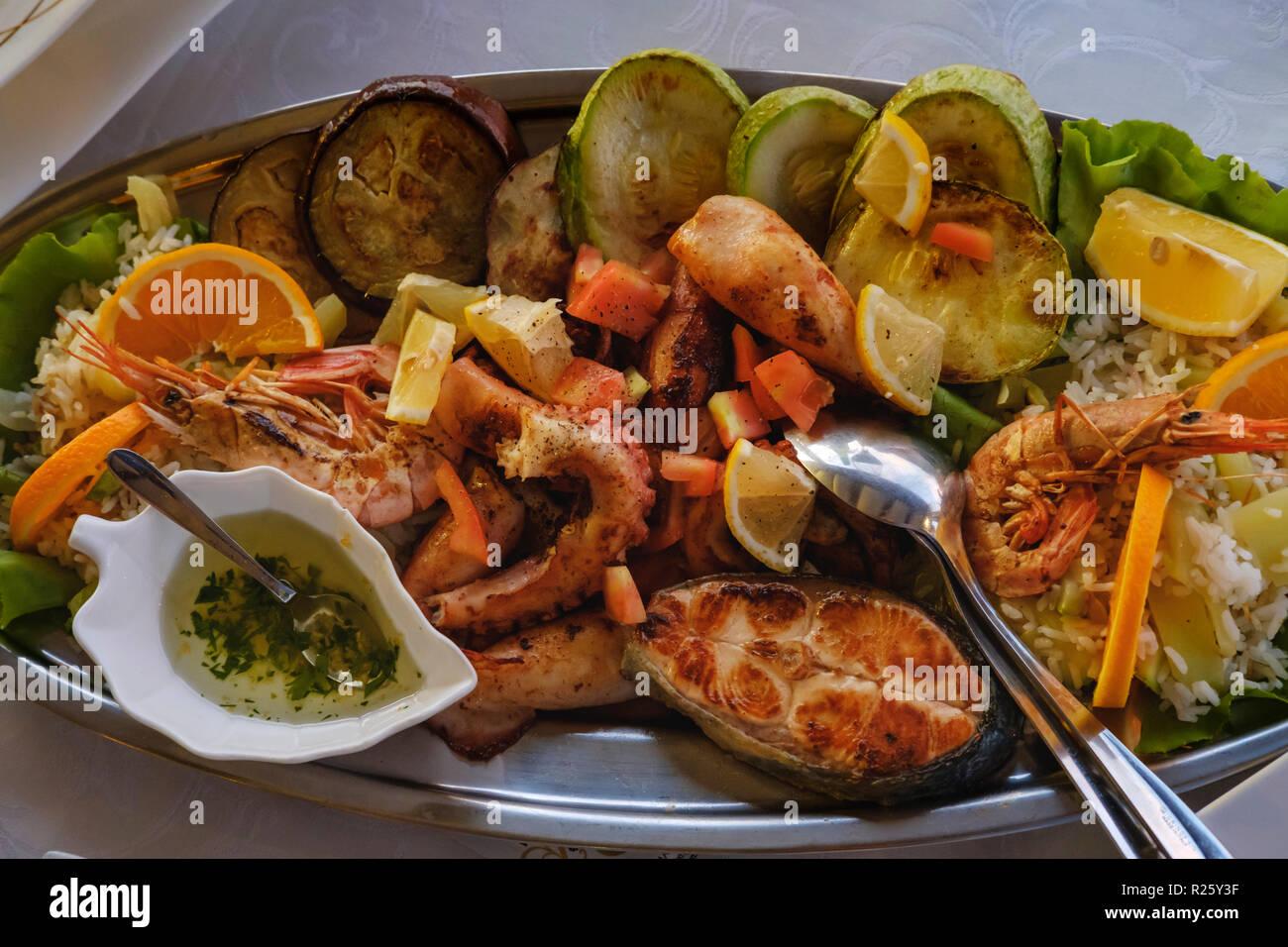 Seafood plate, Krasici, near Tivat, Montenegro Stock Photo