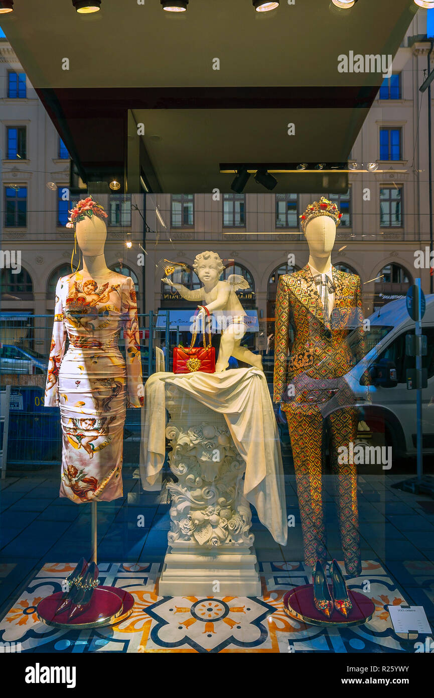 Shop window of Dolce & Gabbana, Maximilianstraße, Munich, Upper Bavaria, Bavaria, Germany - Stock Image